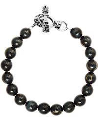 King Baby Studio - Tiger Eye Sterling Silver Beaded Toggle Bracelet - Lyst