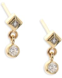 Zoe Chicco - Diamond & 14k Yellow Gold Stud Earrings - Lyst