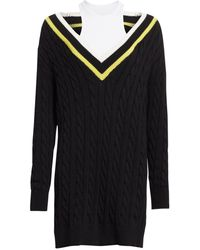 T By Alexander Wang Layered Varsity Longline Cable-knit Sweater - Black