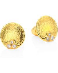 Gurhan - Pointelle 22k Yellow Gold & Diamond Stud Earrings - Lyst