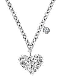 Meira T 14k White Gold Diamond Heart Pendant Necklace - Metallic