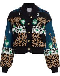 Hayley Menzies Leopardess Knit Bomber Jacket - Blue