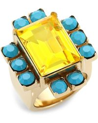 Dries Van Noten Women's Glass Statement Ring - Yellow