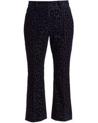 10 Crosby Derek Lam Velvet Leopard-print Crop Flare Pants - Blue