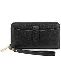 Gigi New York Large City Leather Phone Wallet - Black