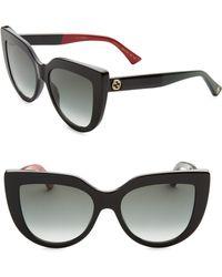 f5d4afd47eb Gucci - Women s 53mm Colorblocked Arm Cat Eye Sunglasses - Black - Lyst