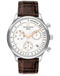 Movado - Heritage Stainless Steel Croc-embossed Leather-strap Chronograph Watch - Lyst