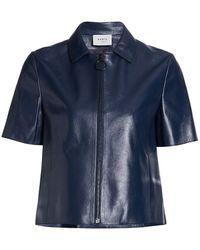 Akris Punto Short-sleeve Leather Zip Jacket - Blue