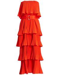 Essentiel Antwerp Valentina Tier Ruffle Maxi Dress - Red
