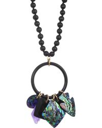 Nest - Wood & Shell Charm Pendant Necklace - Lyst