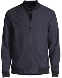 Theory Aiden Wool-blend Bomber Jacket - Blue
