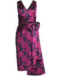 Aidan Mattox Floral Print Sleeveless Cocktail Dress - Purple