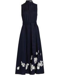 Lela Rose Floral Applique Cotton Midi Dress - Blue