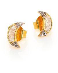 Shana Gulati Banjara Champagne Diamond Noorpur Crescent Studs - Metallic