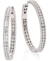 Roberto Coin - Symphony Large Diamond & 18k White Gold Hoop Earrings/1.25 - Lyst