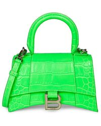 Balenciaga - Xs Hourglass Croc-embossed Leather Top Handle Bag - Lyst