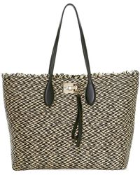 Ferragamo Medium Studio Raffia Tote - Black