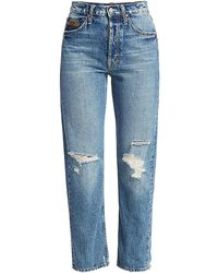 Mother The Tomcat High-rise Ankle Straight-leg Distressed Embroidered Jeans - Blue