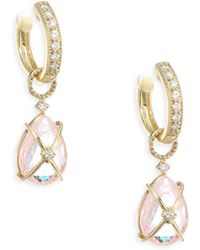 Jude Frances   Lisse Tiny Crisscross Wrapped Diamond & Morganite Earring Charms   Lyst