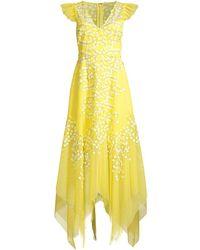BCBGMAXAZRIA Embroidered Tulle Ruffle Dress - Yellow