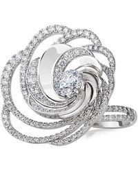 De Beers Aria 18k White Gold & Diamond Swirl Ring - Multicolor