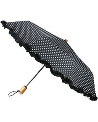 Saks Fifth Avenue Women's Ruffled Automatic Umbrella - Black