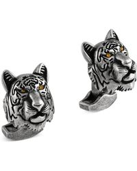 Tateossian - Swarovski Crystals & Gunmetal-plated Tiger Cufflinks - Lyst