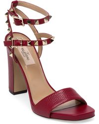 Valentino | Rockstud Leather Ankle-strap Sandals | Lyst
