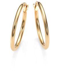 "Roberto Coin - 18k Yellow Gold Oval Hoop Earrings/1"" - Lyst"