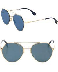 Fendi - Women's 55mm Notched Aviator Sunglasses - Plum - Lyst