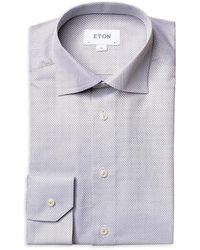 Eton Slim-fit Texutred Piping Dress Shirt - Green