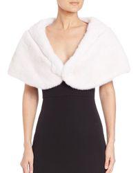 Saks Fifth Avenue The Fur Salon Monique Lhuillier For Mink Fur Stole - White