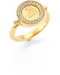 Temple St. Clair Angel Diamond & 18k Yellow Gold Ring - Metallic