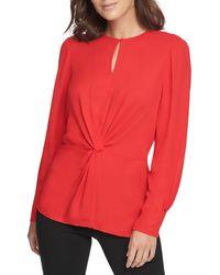 Donna Karan Center Knot Keyhole Blouse - Red