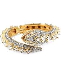 Kenneth Jay Lane 22k Goldplated & Crystal Pavé Snake Hinge Bracelet - Multicolor