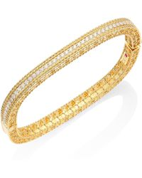 Roberto Coin - Princess Braided Diamond & 18k Yellow Gold Bangle Bracelet - Lyst
