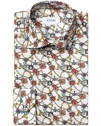 Eton Slim-fit Chandelier-print Dress Shirt - White