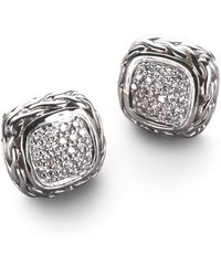 John Hardy - Classic Chain Diamond & Sterling Silver Small Square Stud Earrings - Lyst