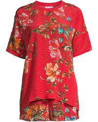 Johnny Was Annalynn Floral Silk T-shirt & Shorts Pajama Set - Red