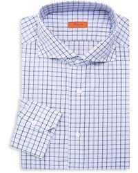 Isaia Slim-fit Checker Dress Shirt - Blue
