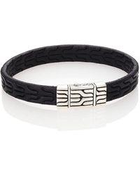 John Hardy Classic Chain Leather & Sterling Silver Bracelet - Black