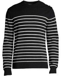 The Kooples Stripe Wool-cotton Sweater - Black