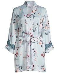 In Bloom Ivy Wrapper Floral Robe - Blue