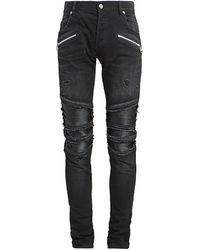 Balmain Ribbed Slim-fit Jeans - Black