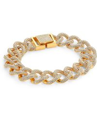 Adriana Orsini - Crystal Pave Curb Link Bracelet/goldtone - Lyst