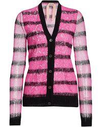 N°21 Stripe Lace Underlay Cardigan - Pink