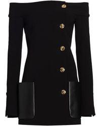 Proenza Schouler Stretch Suiting Off-the-shoulder Jacket - Black