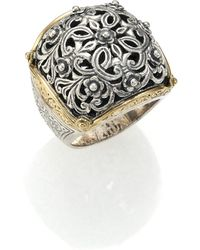 Konstantino - Classics 18k Yellow Gold & Sterling Silver Floral Filigree Ring - Lyst