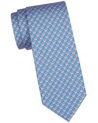 Ferragamo Slot Print Silk Tie - Blue
