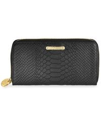Gigi New York Large Python-embossed Leather Zip-around Wallet - Black